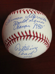 SOLD 800 Herm Starrette Autographed ROMLB Baseball 1980 World Series Champs