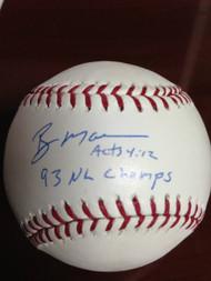 SOLD 880 Roger Mason Autographed ROMLB Baseball 93 NL Champs