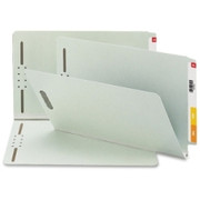 Smead 37705 Gray/Green End Tab Pressboard Fastener File Folders with SafeSHIELD Fasteners