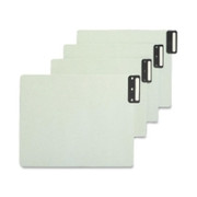 Smead 61635 Gray/Green 100% Recycled Extra Wide End Tab Pressboard Guides with Vertical Metal Tab