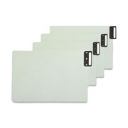 Smead 63235 Gray/Green 100% Recycled Extra Wide End Tab Pressboard Guides with Vertical Metal Tab