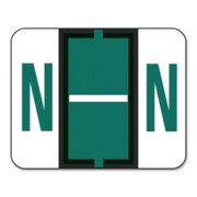Smead 67084 Dark Green BCCR Bar-Style Color-Coded Alphabetic Label - N