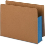 Smead 73679 Blue Extra Wide End Tab File Pockets with Reinforced Tab and Colored Gusset