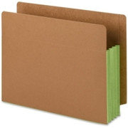 Smead 73680 Green Extra Wide End Tab File Pockets with Reinforced Tab and Colored Gusset