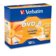 Verbatim 95099 DVD Recordable Media - DVD-R - 16x - 4.70 GB - 10 Pack Slim Case