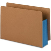 Smead 74679 Blue Extra Wide End Tab File Pockets with Reinforced Tab and Colored Gusset