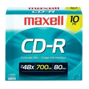 Maxell CD Recordable Media - CD-R - 40x - 700 MB - 10 Pack Slim Jewel Case