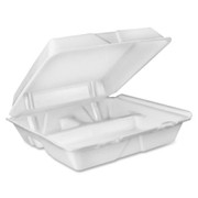 Dart 3-Comprtmt Closing Large Foam Carryout Trays