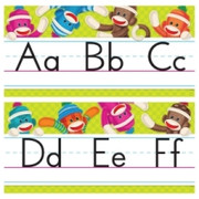 Trend Sock Monkeys Alphabet Line Standard Manuscript Bulletin Board Set