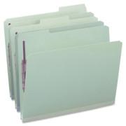 Smead 14931 Gray/Green Pressboard Fastener File Folders with SafeSHIELD Fasteners