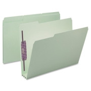 Smead 14944 Gray/Green Pressboard Fastener File Folders with SafeSHIELD Fasteners