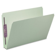 Smead 19910 Gray/Green Pressboard Fastener File Folders with SafeSHIELD Fasteners