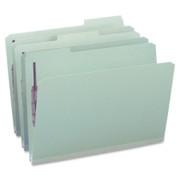 Smead 19931 Gray/Green Pressboard Fastener File Folders with SafeSHIELD Fasteners
