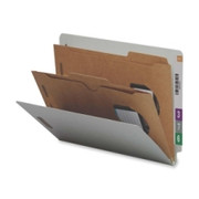 Smead 26710 Gray/Green End Tab Classification Folders with Pocket-Style Dividers and SafeSHIELD Fasteners