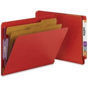 Smead 26783 Bright Red End Tab Pressboard Classification Folders with SafeSHIELD Fasteners