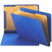Smead 26784 Dark Blue End Tab Pressboard Classification Folders with SafeSHIELD Fasteners