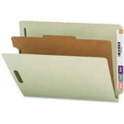 Smead 26800 Gray/Green End Tab Pressboard Classification Folders with SafeSHIELD Fasteners