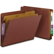 Smead 26855 Red End Tab Pressboard Classification Folders with SafeSHIELD Fasteners