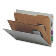 Smead 29710 Gray/Green End Tab Classification Folders with Pocket-Style Dividers and SafeSHIELD Fasteners