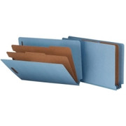 Smead 29781 Blue End Tab Pressboard Classification Folders with SafeSHIELD Fasteners