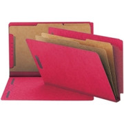 Smead 29783 Bright Red End Tab Pressboard Classification Folders with SafeSHIELD Fasteners