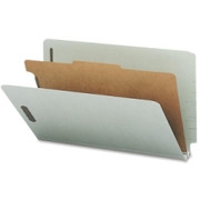 Smead 29800 Gray/Green End Tab Pressboard Classification Folders with SafeSHIELD Fasteners