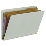 Smead 29810 Gray/Green End Tab Pressboard Classification Folders with SafeSHIELD Fasteners