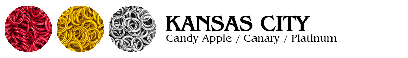 Kansas City Football Jump Rings : Candy Apple / Canary / Platinum