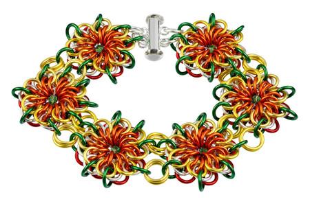 Rasta Flares Chain Maille Bracelet Kit by Genny Smith