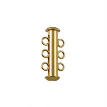 Tube Clasp, Gold Plated, 3 Strand, 21x6mm