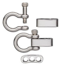 Anchor Shackle clasp, Adjustable, Chrome-plated Stainless Steel,  38x20