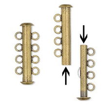 antique gold plated brass 4 strand slide clasp