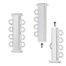 Square Tube Clasp, Silver Plated Brass, 4 Strand