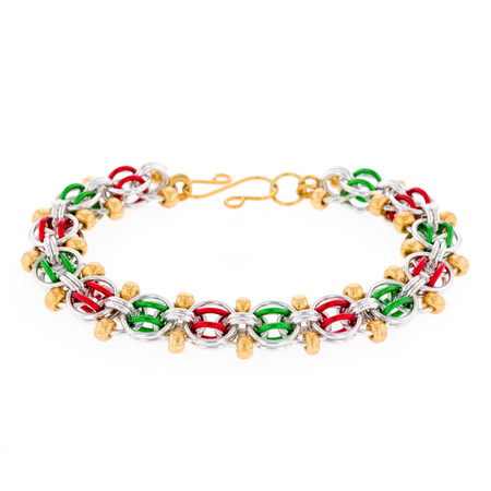 Deck the Halls - Beaded Helm Chain Chainmaille Bracelet Kit - By Emily Fiks