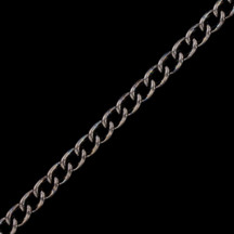 Chain by the Foot - Gunmetal Finished Steel Curb Chain 3.06mm x 4.71mm - 1 foot