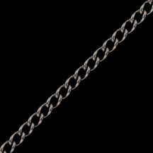 Chain by the Foot - Stainless Steel Vibed Curb Chain 3.06mm x 4.71mm - 1 foot