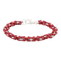 Marsala & Silver 2 Color Byzantine Chain Maille Bracelet Kit