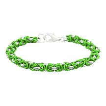 Sour Apple & Silver 2 Color Byzantine Chain Maille Bracelet Kit