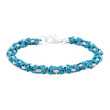 Turquoise & Silver 2 Color Byzantine Chain Maille Bracelet Kit