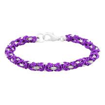Violet & Silver 2 Color Byzantine Chain Maille Bracelet Kit