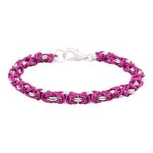 Bubblegum & Silver 2 Color Byzantine Chain Maille Bracelet Kit