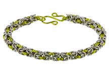 Peridot & Silver 2 Color Byzantine Chain Maille Bracelet Kit