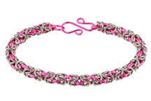 2-Color Byzantine Bracelet Kit - Think Pink! Bright Aluminum & Pink Enameled Copper