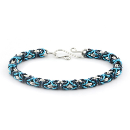 3-Color Enameled Copper Byzantine Bracelet Kit - Misty Blue