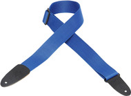 "Levy's M8-ROY 2"" Soft-Poly Guitar/Bass Strap w/Leather Ends - Royal Blue"