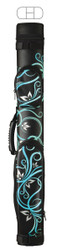 McDermott 2x2 Hard Vinyl Pool/Billiard Cue Case - Teal & White Floral on Black