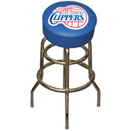 NBA Los Angeles Clippers Chrome Metal Bar Stool with Swivel Seat Game Room Barstool