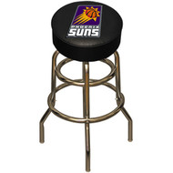 NBA Pheonix Suns Chrome Metal Bar Stool with Swivel Seat Game Room Barstool