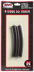 "Atlas N Scale Code 55 10"" Radius Curve 6-Pack Model Train Track"