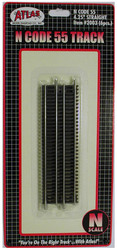 "Atlas N Scale Code 55 4.25"" Straight 6-Pack Model Train Track"